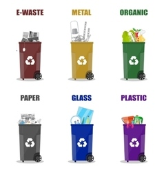 Diffrent waste recycling categories Garbage bins vector image vector image