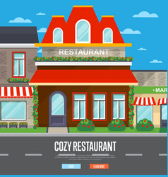 Facade of restaurant in flat design vector