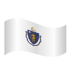 Flag of massachusetts waving on white background vector