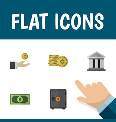 Flat icon incoming set of cash strongbox hand vector