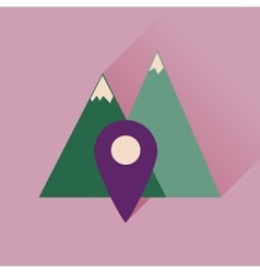 Flat icon with long shadow mountain location vector