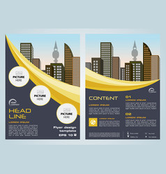 Flyer with dark blue and yellow lines vector