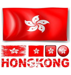 Hong kong flag in different designs and wording vector