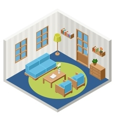 Interior of the isometric room with vector