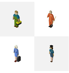 Isometric people set of cleaner plumber vector