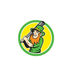 Leprechaun baseball hitter batting circle retro vector