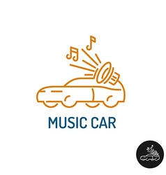 Music car logo linear style vehicle silhouette vector