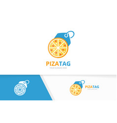 Pizza and tag logo combination food and vector