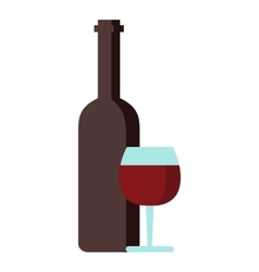 Red wine and glass icon flat style vector image vector image