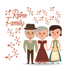 retro family grandparents with their daughter vector image