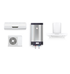 set icons of household appliances on a white vector image