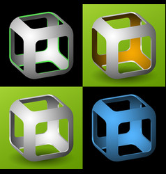 smoothed 3d cube with openings vector image vector image