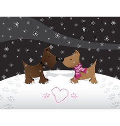 snow puppy love vector image vector image