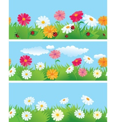 summer seamless borders vector image