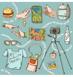 Travel and tourism icon things for travelling vector image vector image