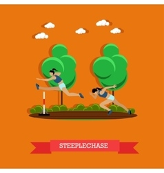 Two steeplechase female athletes flat design vector image