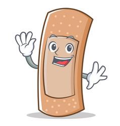 waving band aid character cartoon vector image vector image