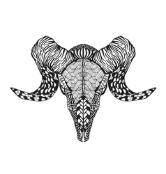 Zentangle stylized mutton sheep skull for tattoo t vector image