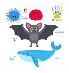 Zoo alphabet with funny cartoon animals U v w vector image