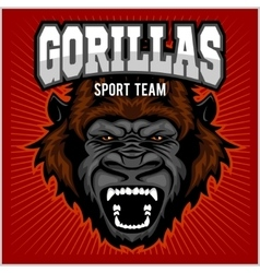 Mascot of gorilla head - sport team vector image