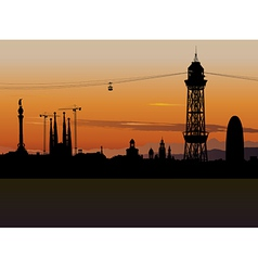 Barcelona cable car tower vector