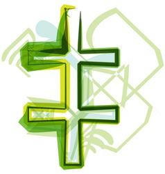 Green letter symbol vector image