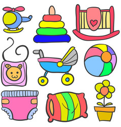 set of baby object various doodles vector image