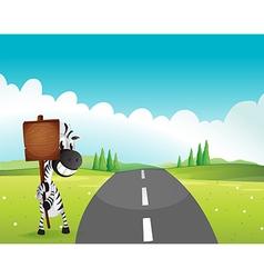 A zebra holding an empty wooden signboard along vector image