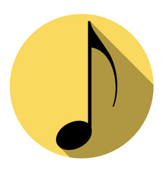 music note sign  flat black icon with flat vector image