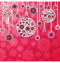 Christmas purple background with baubles EPS 8 vector image
