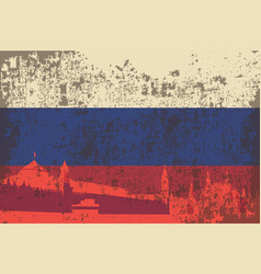 Flag of russia the building of the kremlin vector