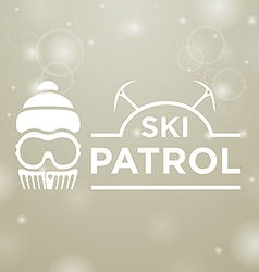 Logotype ski patrol on gray snow background vector