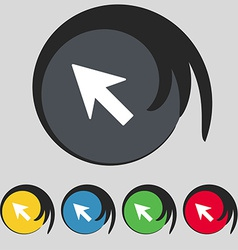 Cursor arrow icon sign symbol on five colored vector