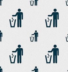 Throw away the trash icon sign seamless pattern vector