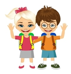 Two fashion small children with backpacks vector
