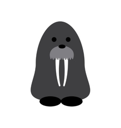 Flat web icon on white background walrus vector image