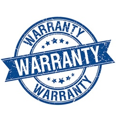 Warranty grunge retro blue isolated ribbon stamp vector