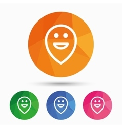 Happy face map pointer symbol smile icon vector