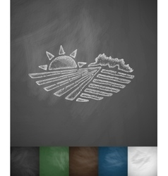 Agricultural landscape icon vector