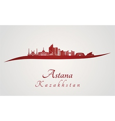 Astana skyline in red vector image