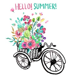 Bike and watercolor flowers vector image