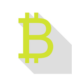 bitcoin sign pear icon with flat style shadow vector image vector image