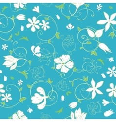 Blue Green White Spring Florals Seamless vector image vector image