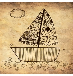 Boat floating on the sea background on grunge vector