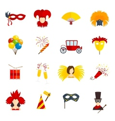 Carnival icons set flat vector image vector image