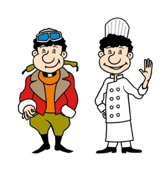 Character pilot and chef set vector