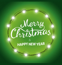 christmas wreath merry christmas and happy new vector image vector image
