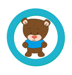 Color circular frame with teddy bear vector