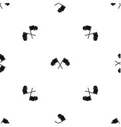 Crossed flags pattern seamless black vector