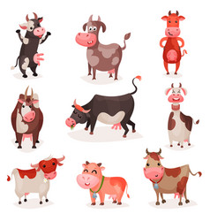 cute cow characters set funny cows in different vector image